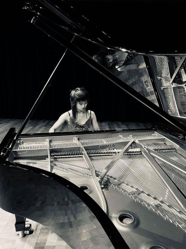 connie at piano